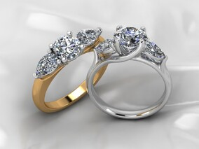 Midas Pear shaped and diamond round